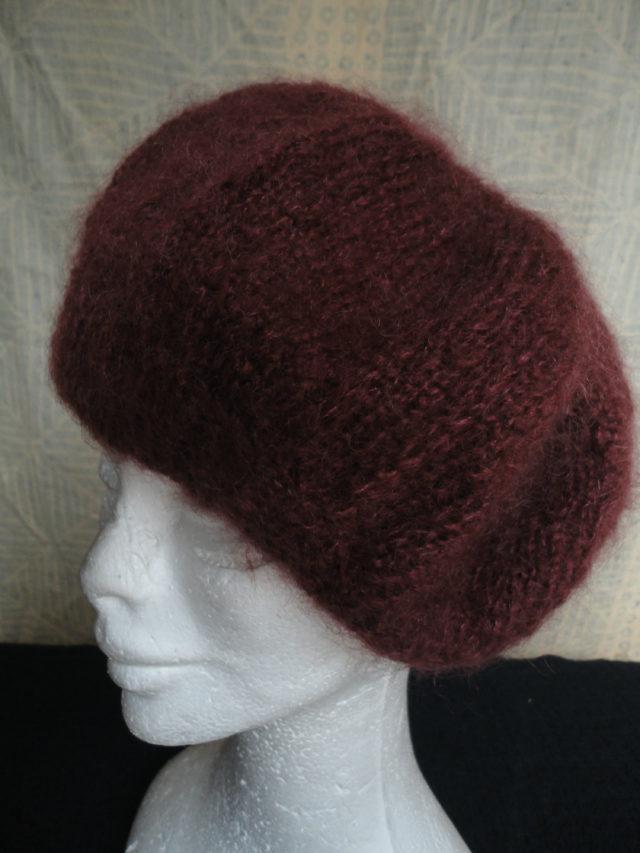 beret mohair tricoté main